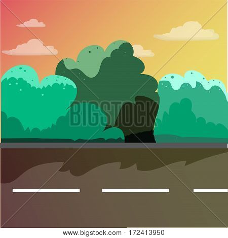 Street in the afternoon in a cartoon style. Bushes asphalt road