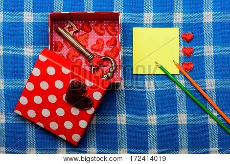 Beautiful Open Present Box With Valentine Symbol Of Love