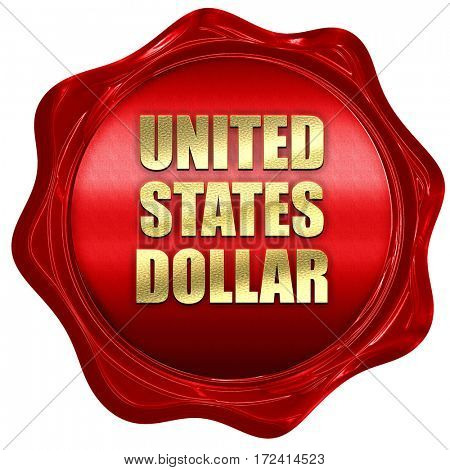 united states dollar, 3D rendering, red wax stamp with text