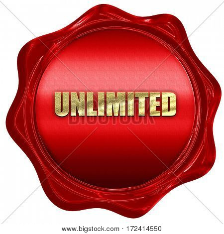 unlimited, 3D rendering, red wax stamp with text