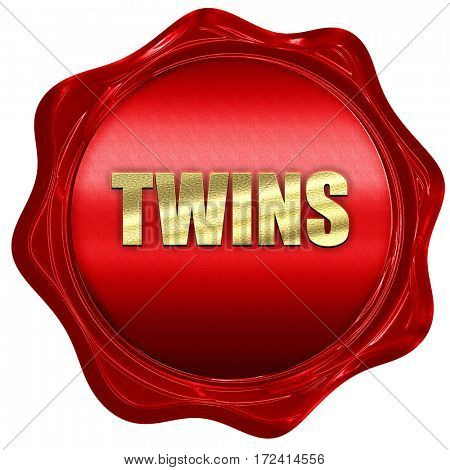 twins, 3D rendering, red wax stamp with text