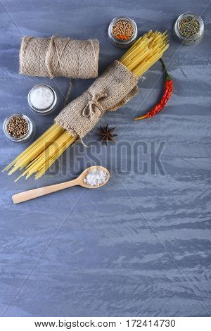 Bunch Of Spaghetti In Sackcloth And String Bobbin