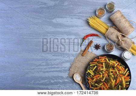 Dried Italian Pasta Fusilli And Spaghetti
