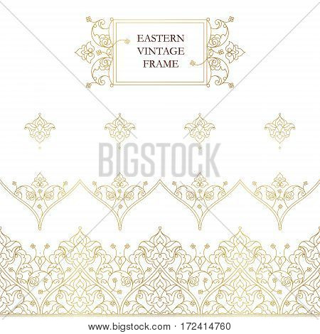 Vector Set Of Seamless Border In Eastern Style.