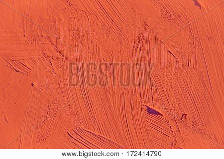 Painting close up of red flame pantone color, paint brush strokes  texture for interesting, creative, imaginative backgrounds. For web and design.