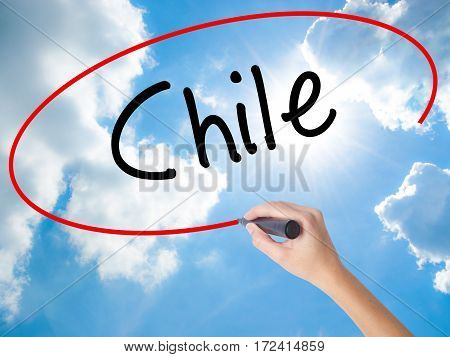 Woman Hand Writing Chile  With Black Marker On Visual Screen