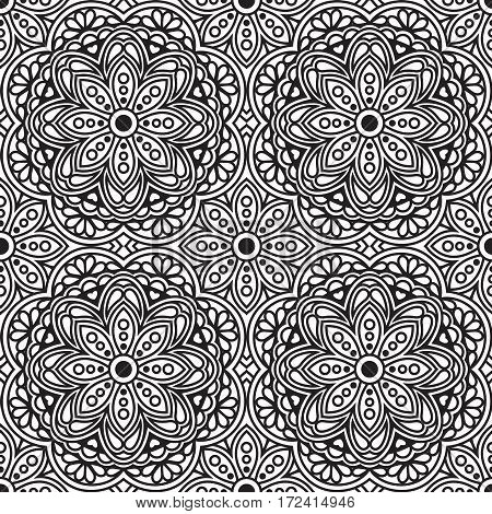 Vector seamless pattern with monochrome black mandala ornament