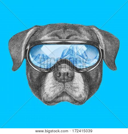 Portrait of Rottweiler with ski goggles. Hand drawn illustration.