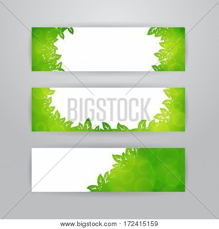 Set of three horizontal banners with blurry green frame of leaves on white background