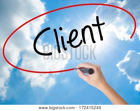 Woman Hand Writing Client  With Black Marker On Visual Screen