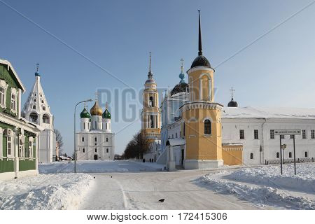 Russia. Kolomna kremlin and historical center. The Cathedral of the Asccension and tipical old russian izba (Log house)