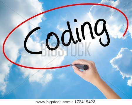 Woman Hand Writing Coding With Black Marker On Visual Screen