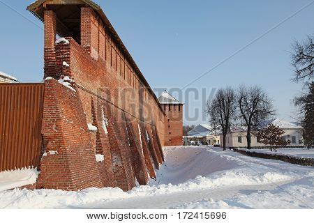 Russia. Kolomna. Fortress wall during winter day