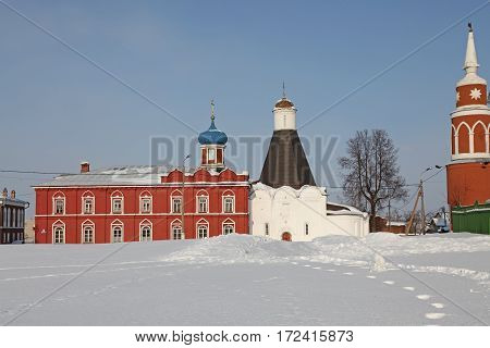 Russia Winter Kolomna city center view and Bell Tower