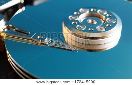 Hard disk drive without cover. Inside hard disk. Data storage technology. Hi-tech. Big data.