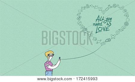 Internet Love Concept Design Woman On Phone