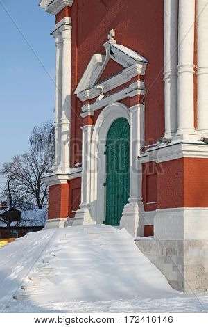 View of enterence to historical Church in down town of Kolomna. Russia