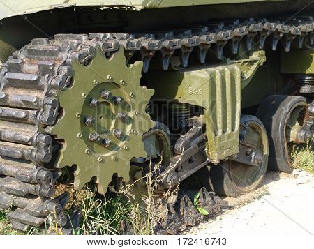 Russia. Snegiri city.Battle tanks and anti tank gun museum. Tank details