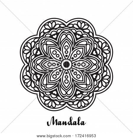 Vector background with black mandala. Abstract monochrome round ornament