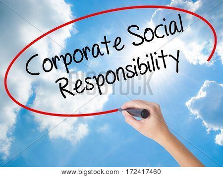 Woman Hand Writing Corporate Social Responsibility With Black Marker On Visual Screen.