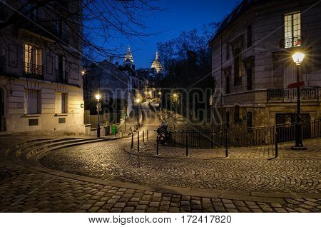 Paris Montmartre and Basilica of Sacre-Coeur at blue hour