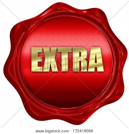 extra, 3D rendering, red wax stamp with text