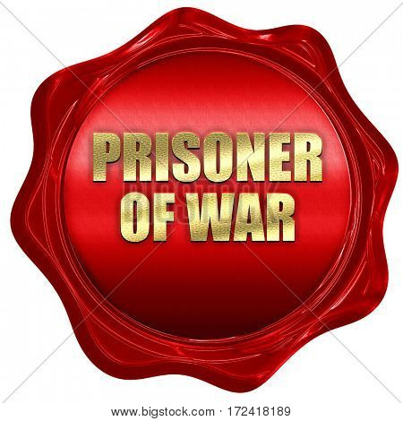 prisoner of war, 3D rendering, red wax stamp with text