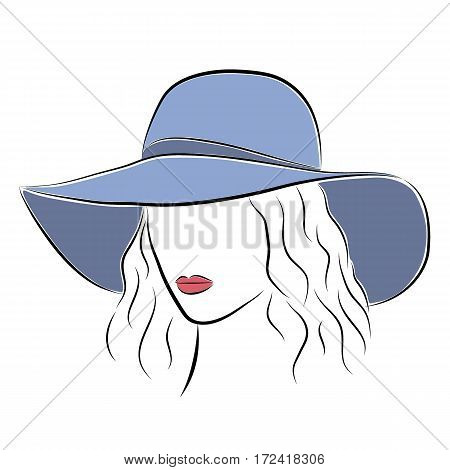 Close up portrait. Beautiful elegant lady in the blue wide-brimmed hat. Bright lips painted on her face. Vector fashion sketch in hand drawing style for your design. EPS10 format.