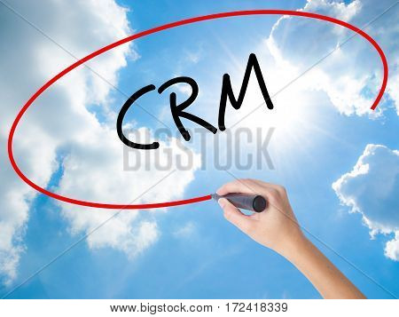 Woman Hand Writing Crm With Black Marker On Visual Screen