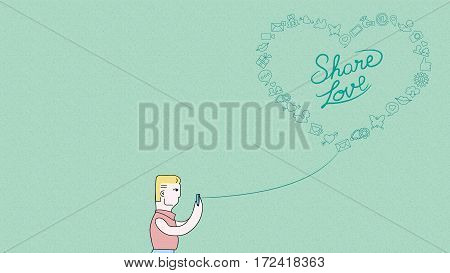 Social media love concept illustration. Man on smart phone with outline icons in heart shape over grainy textured background. EPS10 vector.