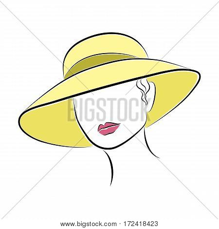 Close up portrait. Beautiful elegant lady in a yellow hat. Bright lips painted on her face. Vector fashion sketch in hand drawing style for your design. EPS10 format.