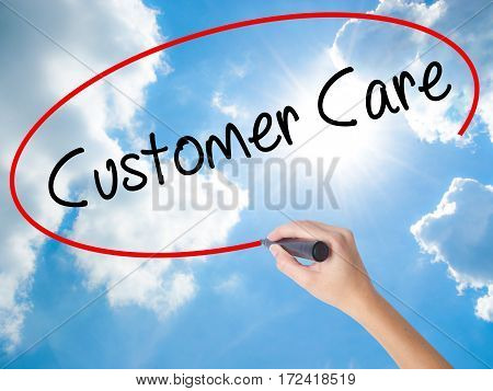 Woman Hand Writing Customer Care With Black Marker On Visual Screen