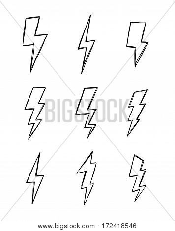 Hand drawn vector illustration - Collection of lightning. Design elements in sketch style.