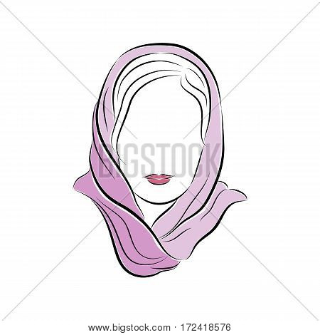 Close up portrait. Beautiful young woman in a lilac scarf on her head. Bright lips painted on her face. Vector sketch in hand drawing style for your design. EPS10 format.