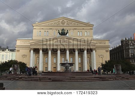 Russia. Moscow. View at Bolshoi Theatre during sunny day