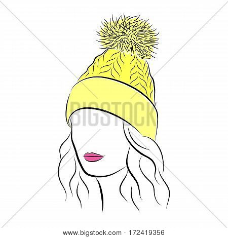 Close up portrait. Beautiful young woman in yellow knitted hat with pompom. Bright lips painted on her face. Vector fashion sketch in hand drawing style for your design. EPS10 format.