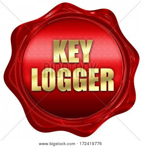 key logger, 3D rendering, red wax stamp with text