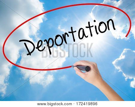 Woman Hand Writing Deportation  With Black Marker On Visual Screen