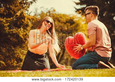 Playful Couple In Park.