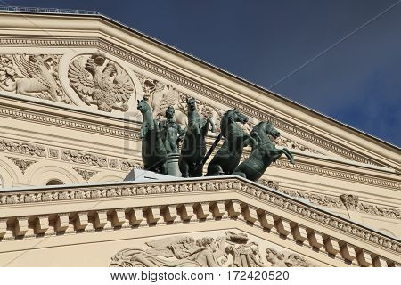 Russia. Moscow. View at Bolshoi Theatre during sunny day. Details of decoration