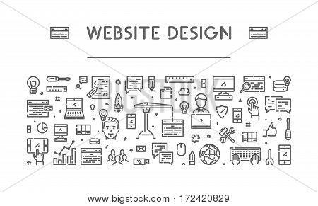 Line web banner for web design. Modern linear concept for application development.