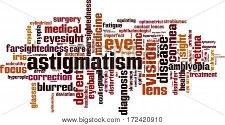 Astigmatism word cloud concept. Vector illustration on white
