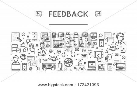Line web banner for feedback. Modern linear concept for support.