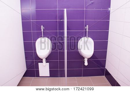 white urinals in a toilet on a background of purple tiles