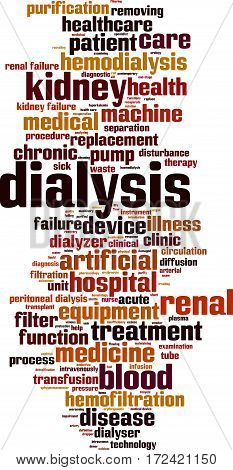 Dialysis word cloud concept. Vector illustration on white