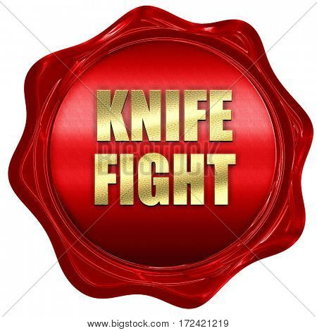 knife fight, 3D rendering, red wax stamp with text