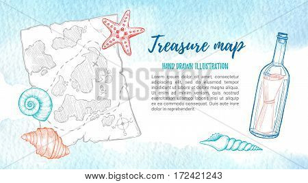 Hand Drawn Vector Illustration - Treasure Map With Sea Shells, Starfish And Bottle. Design Elements