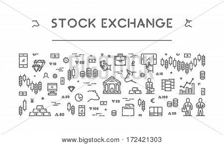 Line web banner for stock market. Modern linear concept for commodity exchange.