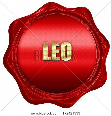 leo, 3D rendering, red wax stamp with text