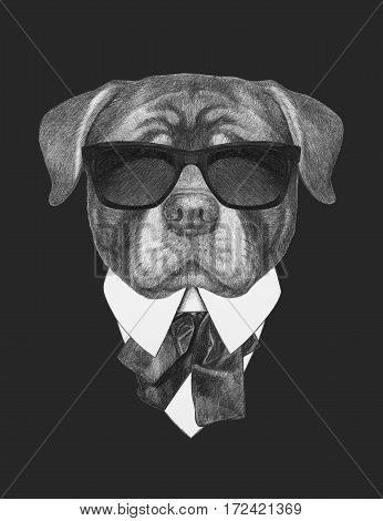 Portrait of Rottweiler in suit. Hand drawn illustration.